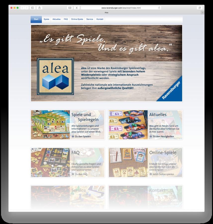 alea: Frische Webseite, neues Zuhause