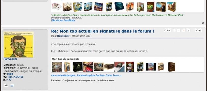 Votre top du moment en signature dans le forum !